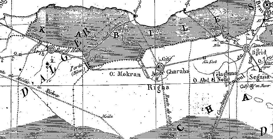 """Carte de la région de Rirha """" Righa"""" ,1857"""